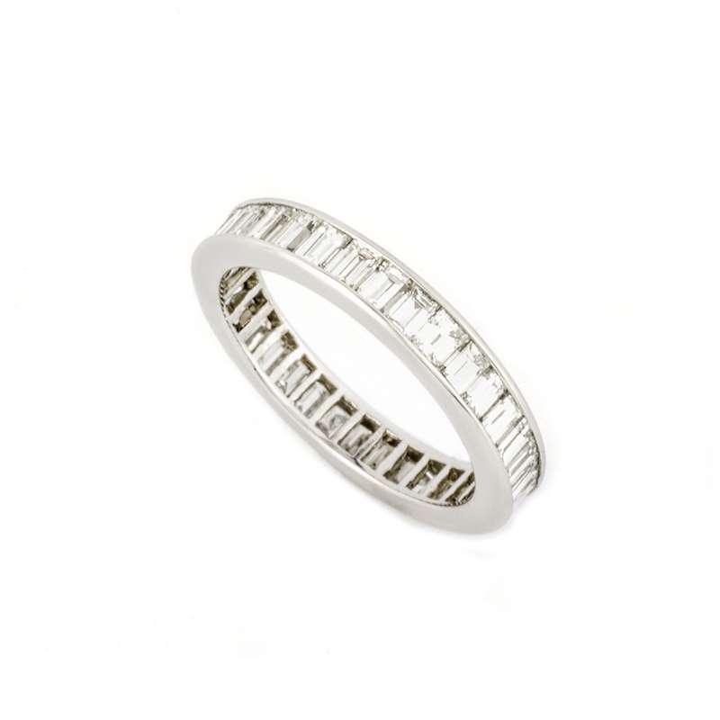 Baguette Cut Diamond Eternity Ring in Platinum